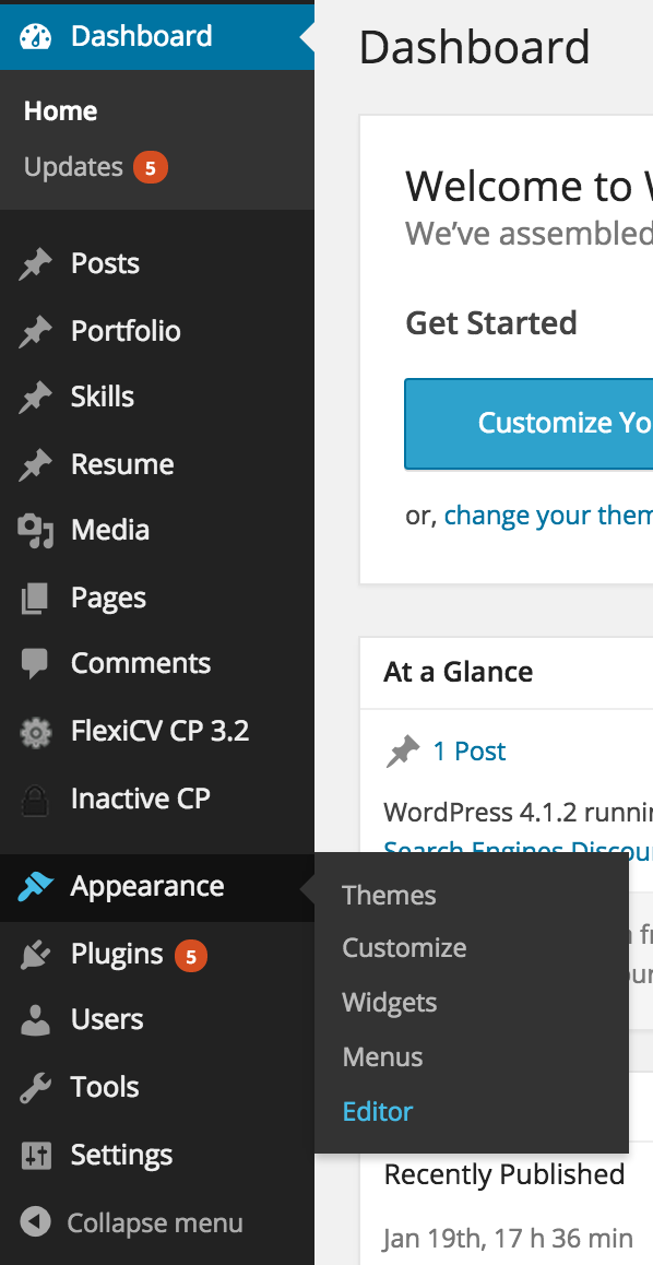 Editor menu wordpress