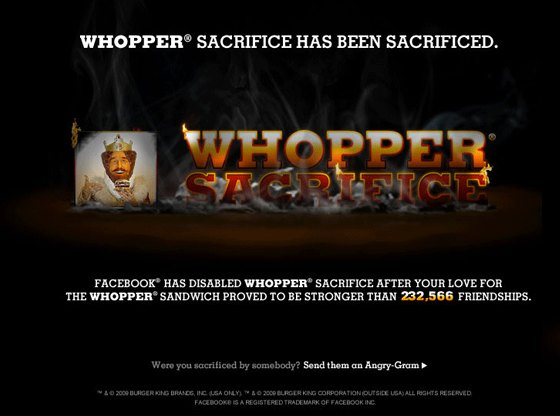 Illustration de la campagne publicitaire en ligne Whopper Sacrifice de Burger King