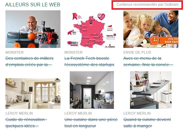 Exemple de Content Syndication System proposé sur Huffington Post grâce à la société Outbrain